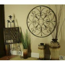 Round Old World Wrought Iron Wall Grill Tuscan Grille French Country Home Decor