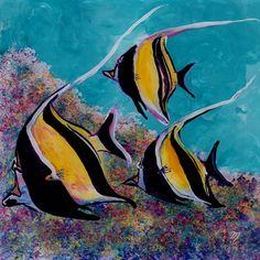 Moorish Idol Art Angel Fish Tropical Ocean Hawaiian Hawaii Kids Room Decor Painting Reef