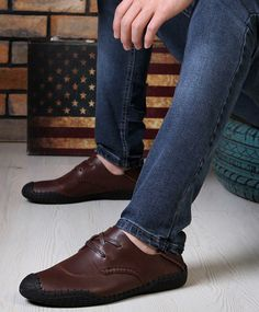 British Style PU Leather and Lace-Up Design Casual Shoes For Men