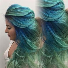 Blue to green ombre hair color idea with natural waves~ wonderful mermaid hair style~ sea green hair color