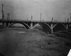 Side view of the Olympic Boulevard Bridge on January 7, 1929; it spans over the Los Angeles River from Downtown to Boyle Heights.