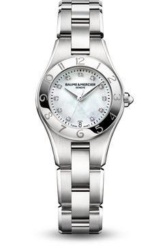 Discover the Linea 10011 Ladies quartz watch, with interchangeable straps, designed by Baume et Mercier, Swiss Watch Maker.