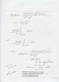 2020年2月22日(土) 8:42  №1100  2次元のゼロ除算の 例を挙げました。 2次の場合を 始めて述べましたが、これらの関数値は、 世に 現れた  初めての公式です。 勾配がゼロの時は、 近づき方に 寄らずにゼロになるので、その値は 真正のゼロ とも考えられる。この例は 著書にも入れたい。 Sheet Music, Math Equations, Music Score, Music Charts, Music Sheets