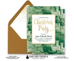 CHRISTMAS PARTY INVITATION Holiday Party Invite Green Watercolor Gold Glitter Christmas Dinner Card Ready Made or DiY Printable - Noriella style. Gold shimmer envelopes and matching envelope liners also available. Only at digibuddha.com