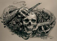 Skull of the artist tattoo sketch