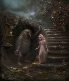 staircase, troll under stairs, little girl in long white dress, lantern, forest of wonders, candle, leaves, grays and browns, creepy cute