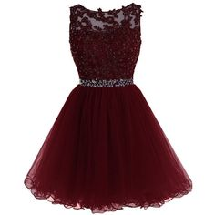 Sarahbridal Women's Short Tulle Prom Party Dresses Beading Crystal... (305 RON) ❤ liked on Polyvore featuring dresses, red homecoming dresses, cocktail prom dress, short beaded cocktail dresses, red cocktail dress and red dress