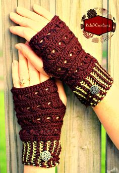 Broomstick Lace Fingerless Gloves - In Memory of Ron, for sale crochet pattern by Kati D Creations