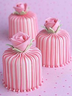 pink and white mini cakes...
