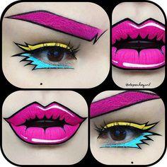 @depechegurl #manga #cartoon #pink #retro #makeup #colors #oktaviotorres #pink #yellow #blue