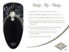 Black, silver, and marble step-by-step ~ Bio Sculpture Gel USA Hard Nails, Thin Nails, Black Nails, How To Do Nails, Gel Nail Art, Nail Art Diy, Gel Nails, Bio Sculpture Nails, Nail Tek