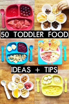 50 Toddler Food Ideas and Tips to help inspire you and give you some new ideas for a hassle-free meal time! Homemade Healthy Snacks For School Indian Healthy Kids, Healthy Snacks, Healthy Recipes, Detox Recipes, Healthy Eating, Healthy Toddler Meals, Toddler Lunches, Toddler Food, Toddler Dinners