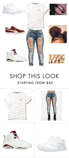 """yeezzzz"" by aleisharodriguez ❤ liked on Polyvore featuring Hollister Co., NIKE and Puma"