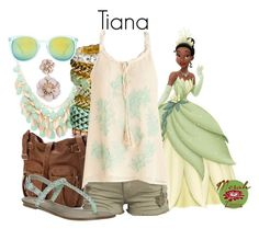 """Summer Wear: Tiana"" by merahzinnia ❤ liked on Polyvore featuring sweet deluxe, H&M, Disney, Mudd, Billabong, even&odd and Quay"