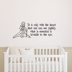 """Little Prince Wall Decal Quote It Is Only with the Heart That One Can See Rightly Wall Decals Vinyl Stickers Nursery Kids Boys Baby Room Bedroom Wall Art Home Decor Q063. ATTENTION! Only purchase this product """"sold by Fab Wall Decals"""" to guarantee authenticity. The size of decal is 14"""" Tall x 36"""" Wide. Size showing on the picture is little bit bigger!. We use high quality Oracal! 100% Quality Guarantee! Our product is made and shipped from Ukraine!. You can let us know the color after..."""