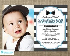 This listing is for a digital printable file of this 5 x 7 Little Man Bow tie Birthday Invitation with photo.  ►No printed items will be shipped.