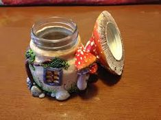 Image result for Polymer Clay Covered Fairy House Jar