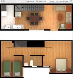 Planta Tipo 61 m2, dos pisos