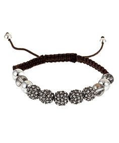 Devora Libin Smoky Czech Silver Macrame Bracelet   WANT