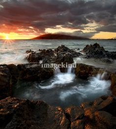 """Sunset Cauldron"" by Mike Dawson, Yakima, Wa // A natural cauldron filling as the sun sets over the rising tides off the South coast of Maui, Hawaii // Imagekind.com -- Buy stunning, museum-quality fine art prints, framed prints, and canvas prints directly from independent working artists and photographers."