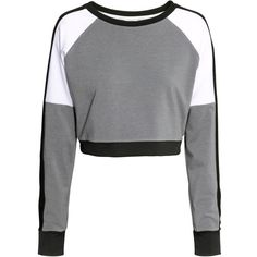 H&M Short sports top (€10) ❤ liked on Polyvore featuring tops, crop tops, shirts, sport, sweaters and dark grey