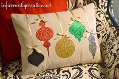 DIY Christmas Decorations | Add a little sparkle to your Christmas home decor with this Ballard-inspired ornament pillow! More