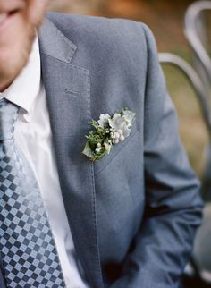Pocket insert boutonniere in a masculine blend of dusty greens #cedarwoodweddings Industrial Inspiration at Historic Cedarwood | Cedarwood Weddings