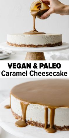 This Vegan Caramel Cheesecake recipe is drizzled with the most amazing salted caramel sauce. Made from cashews that have soaked overnight it's super creamy and decadent. It's a gluten-free, paleo, vegan cheesecake recipe and perfect for Thanksgiving, Chri Vegan Dessert Recipes, Vegan Sweets, Gluten Free Desserts, Paleo Recipes, Free Recipes, Gluten Free Dairy Free Cheesecake Recipe, Paleo Desert Recipes, Kitchen Recipes, Delicious Recipes