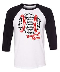 Baseball Mom 3/4 Length Baseball Tees With or Without Glitter by GraphicsUnlimitedLLC on Etsy https://www.etsy.com/listing/220094695/baseball-mom-34-length-baseball-tees