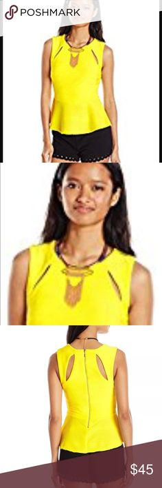 New yellow cutout pablum top Daily double knit peplum top with attached necklace   Product Features:  Sleeveless top in textured knit featuring cutouts at front and back yoke  Peplum hem  Exposed back zipper XOXO Tops