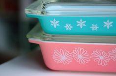 Pink Daisy and Aqua Snowflake Retro Pyrex Casserole Dishes