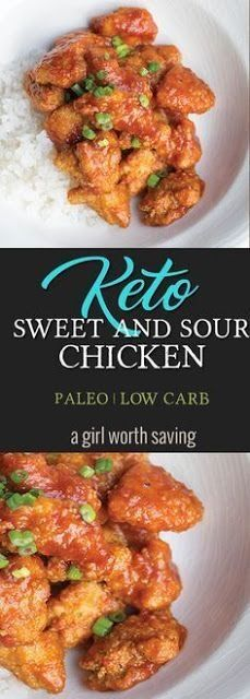 Keto and Miss your restaurant favorites? Grab this recipe for Keto Sweet and Sou… Keto and Miss your restaurant favorites? Grab this recipe for Keto Sweet and Sour Chicken that is has only 4 net carbs! Perfect over cauliflower rice. via Keto Paleo Ketogenic Diet Meal Plan, Diet Meal Plans, Ketogenic Recipes, Low Carb Recipes, Diet Recipes, Healthy Recipes, Recipes Dinner, Dessert Recipes, Keto Meal