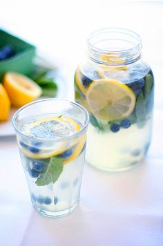 Blueberry Mint Lemonade! M-M-M!    1 cup of freshly squeezed lemon juice  3/4 cup superfine sugar  4 cups water  1 cup fresh blueberries, stems removed  1/3 cup fresh mint    Juice lemons into a large pitcher; add sugar and water, then stir to combine and dissolve. Add blueberries and mint, then serve.