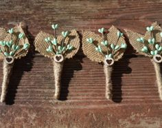 rustic wedding boutonnieres, mint wedding, burlap boutonnieres, mint wedding flowers - SET OF 4, custom colors