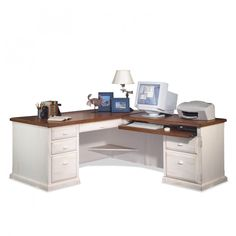 Distressed White Polished Teak Wood Desk With Brwn Wooden Ogee Edge Profile Top Having Several Drawers And Keyboard Pull Out Rack As Well As Solid Wood L Shaped Desk  Plus Home Office Computer Desks, Marvelous L Shaped White Desk For Work Station: Furniture