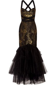 Marchesa Notte Metallic lace gown | THE OUTNET