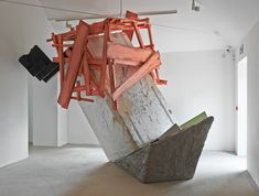 Phyllida Barlow. Untitled: blockcratewedge, 2014  Polystyrene, timber paint, cement, scrim, steel, plywood, polyfiller, PVA, varnish  240 x 383 x 302 cm