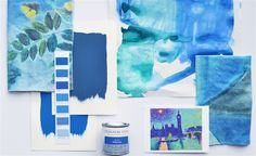 Moodboard: The artist's palette Tricia Guild, Blue Palette, Designers Guild, Fabric Wallpaper, Mood Boards, Color Inspiration, Printing On Fabric, Hand Painted, Seasons