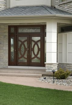 """Marvin custom entry door system with style """"Y"""" art glass."""