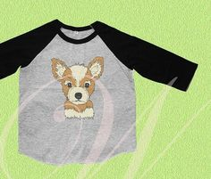 Chihuahua shirt puppy tee Toddler shirts /youth shirts /raglan Grey Shirt, Chihuahua, Tees, Shirts, Youth, Puppies, Baseball, Fashion, Baseball Promposals