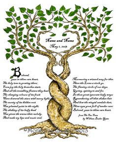 Two Trees Marriage Wedding Certificate Handfasting Art Print Personalised Anniversary Renew Vows by MagickMermaid on Etsy