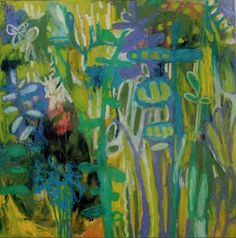"""Annie O'Brien Gonzales-Contemporary Expressionist Artist: Contemporary Abstract Mixed Media Painting """"Meadow..."""