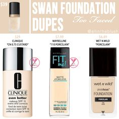 Too Faced Swan Born This Way Foundation Dupes How To Match Foundation, Too Faced Foundation, Foundation Shade, Lipstick Dupes, Makeup Dupes, Elf Dupes, Eyeshadow Dupes, No Foundation Makeup, Beauty Tips