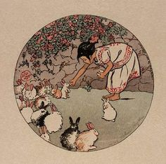 Vintage Illustration Feeding the Bunnies : Helen Hyde : circa 1912 Art Print Suitable for Framing Art Inspo, Lapin Art, Arte Indie, Art Mignon, Art Vintage, Bunny Art, Art Et Illustration, Vintage Illustrations, Aesthetic Art