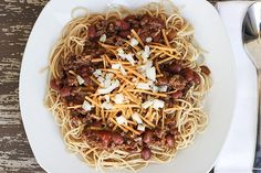 Recipe: Skinny Cincinnati Chili I used ground turkey and added a can of tomato sauce.