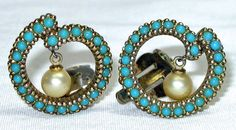Vintage Ciner Faux Turquoise and Dangle Pearl Gold Tone Clip Earrings #Ciner