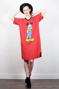 Vintage Mickey Mouse Tshirt 1980s Tshirt Dress 80s T Shirt Dress Nightgown New Wave Novelty Disney Cartoon Print Mini Dress S Small M Medium by ShopTwitchVintage #1980s #80s #mickey #mouse #tshirt #t #shirt #dress #etsy #vintage
