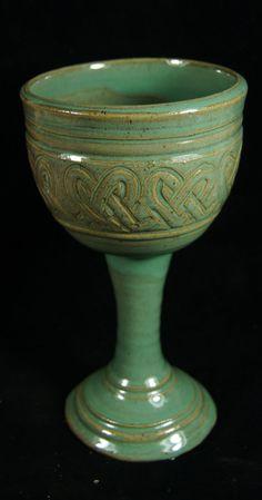 Green Goblet Celtic  Knot Handmade Pottery by saxondesignstudio