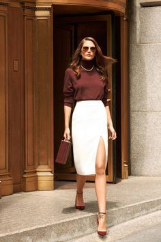 fall outfit women clothes white skirt burgundy top sunglasses purse fashion style street apparel