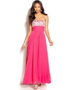 Blondie Nites Junior's Strapless Raspberry Pink fuschia Sweetheart Gown Dress